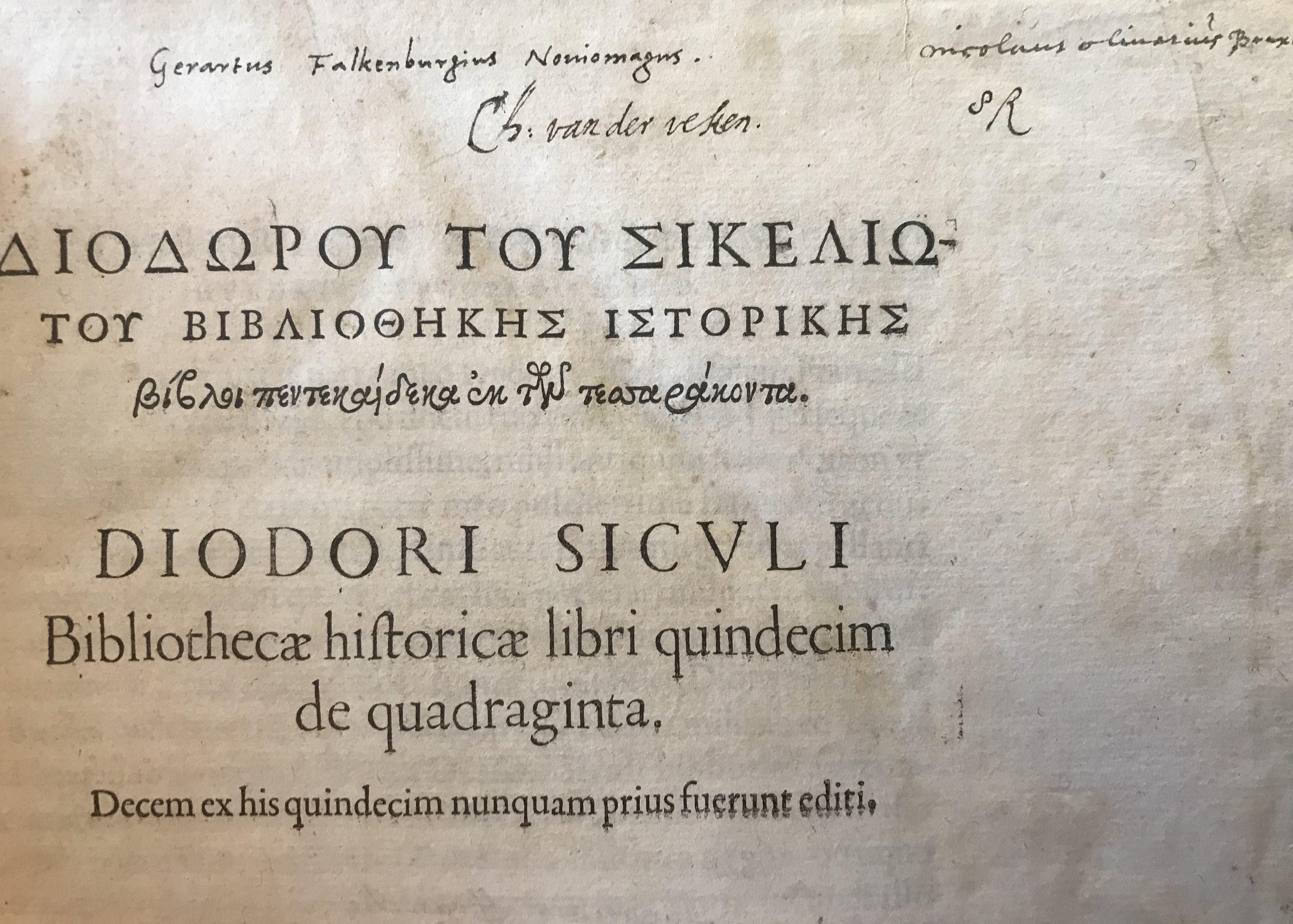 DIODORUS SICULUS (FUGGER, Ulrich III)