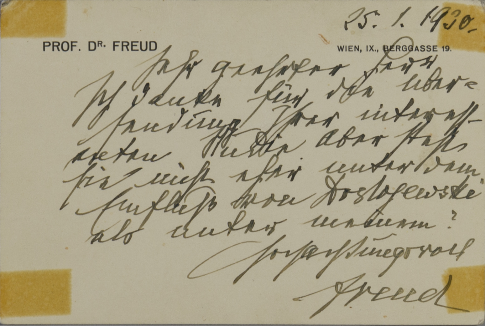 FREUD, Sigmund (Autograph)