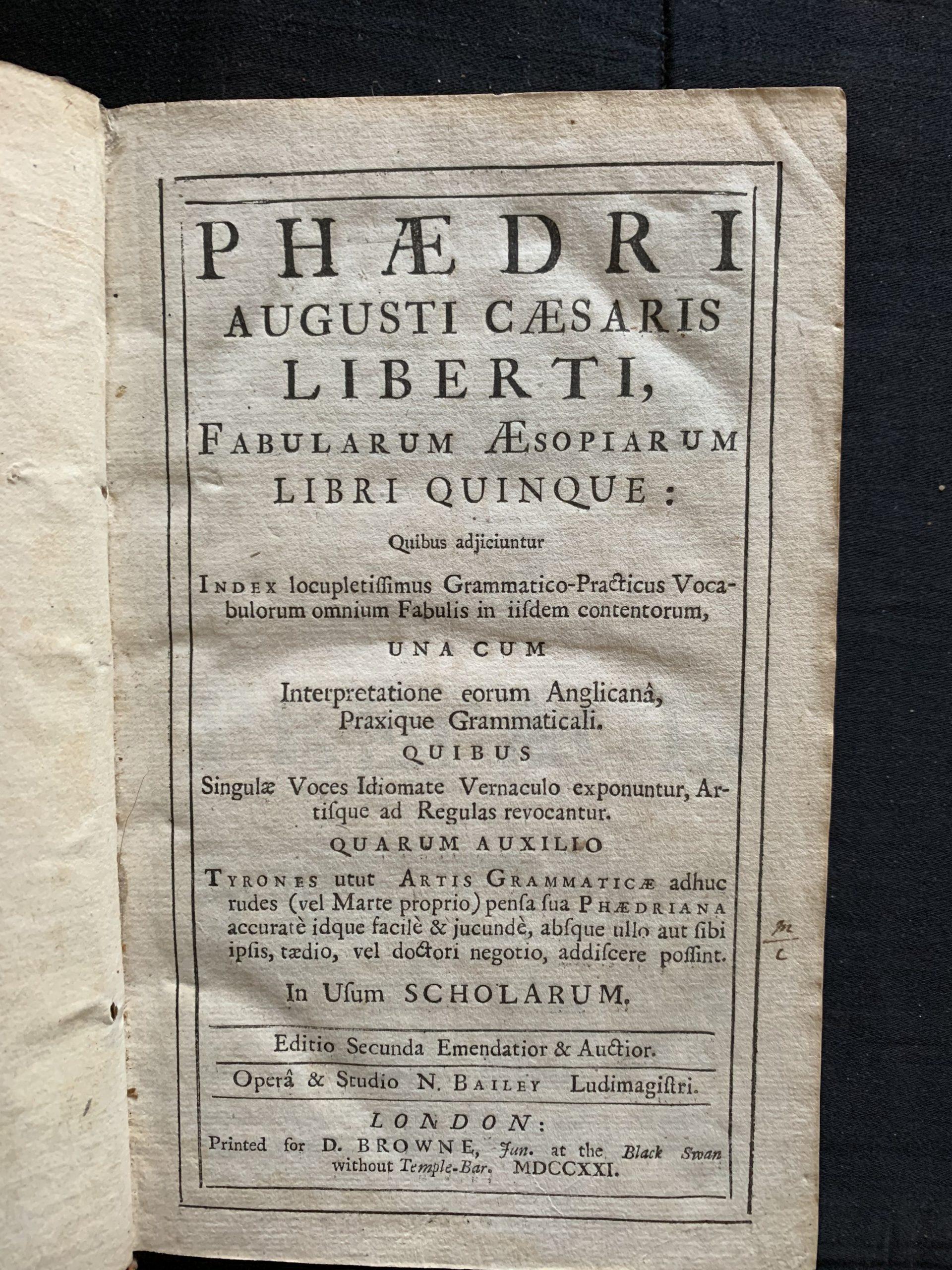 AESOP; PHAEDRUS, Gaius Julius (tr.); BAILEY, Nathan (ed.)
