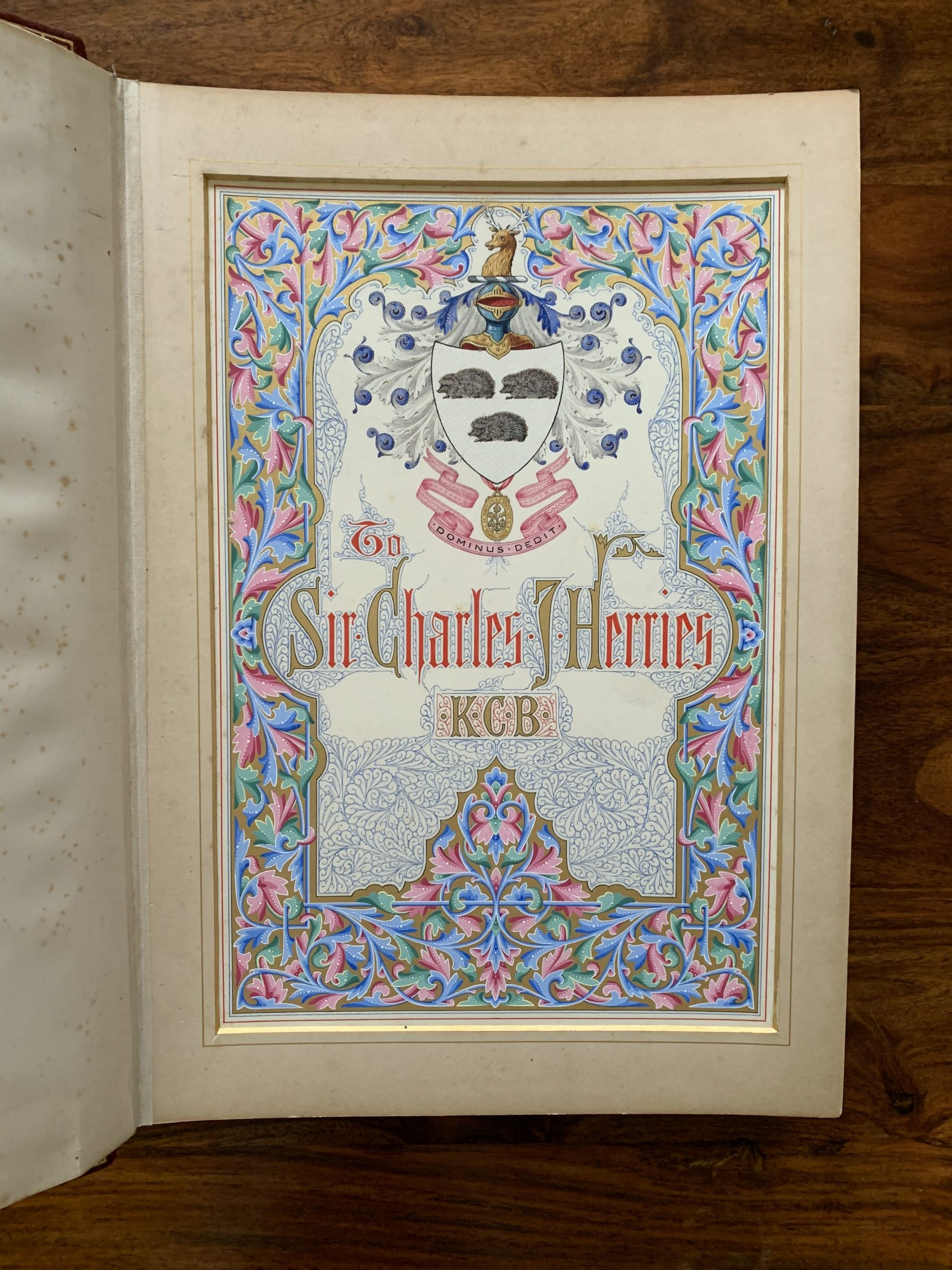 ILLUMINATED TESTIMONIAL FOR SIR CHARLES HERRIES