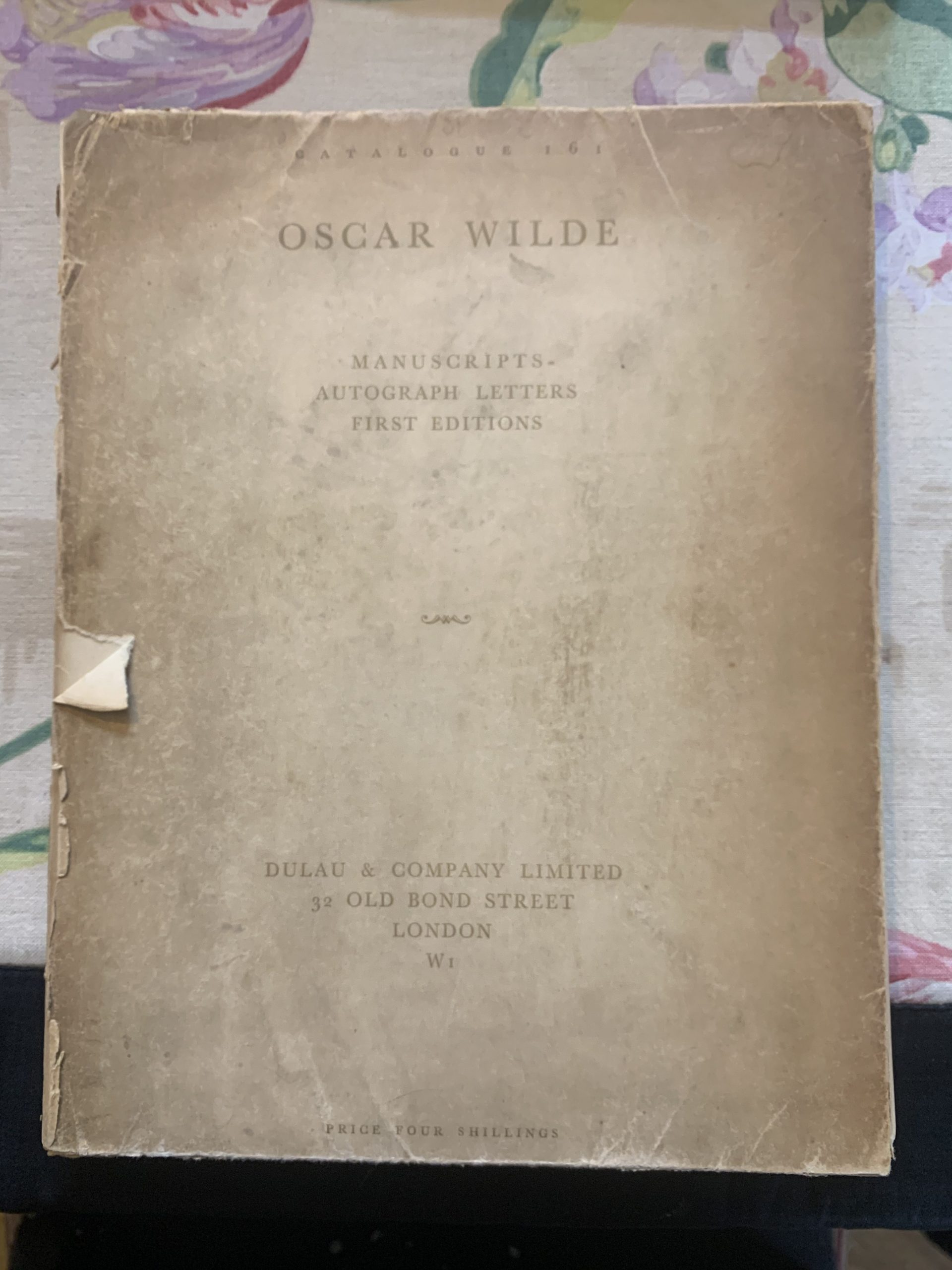 Catalogue 161. A Collection of Original Manuscripts, Letters & Books of Oscar Wilde