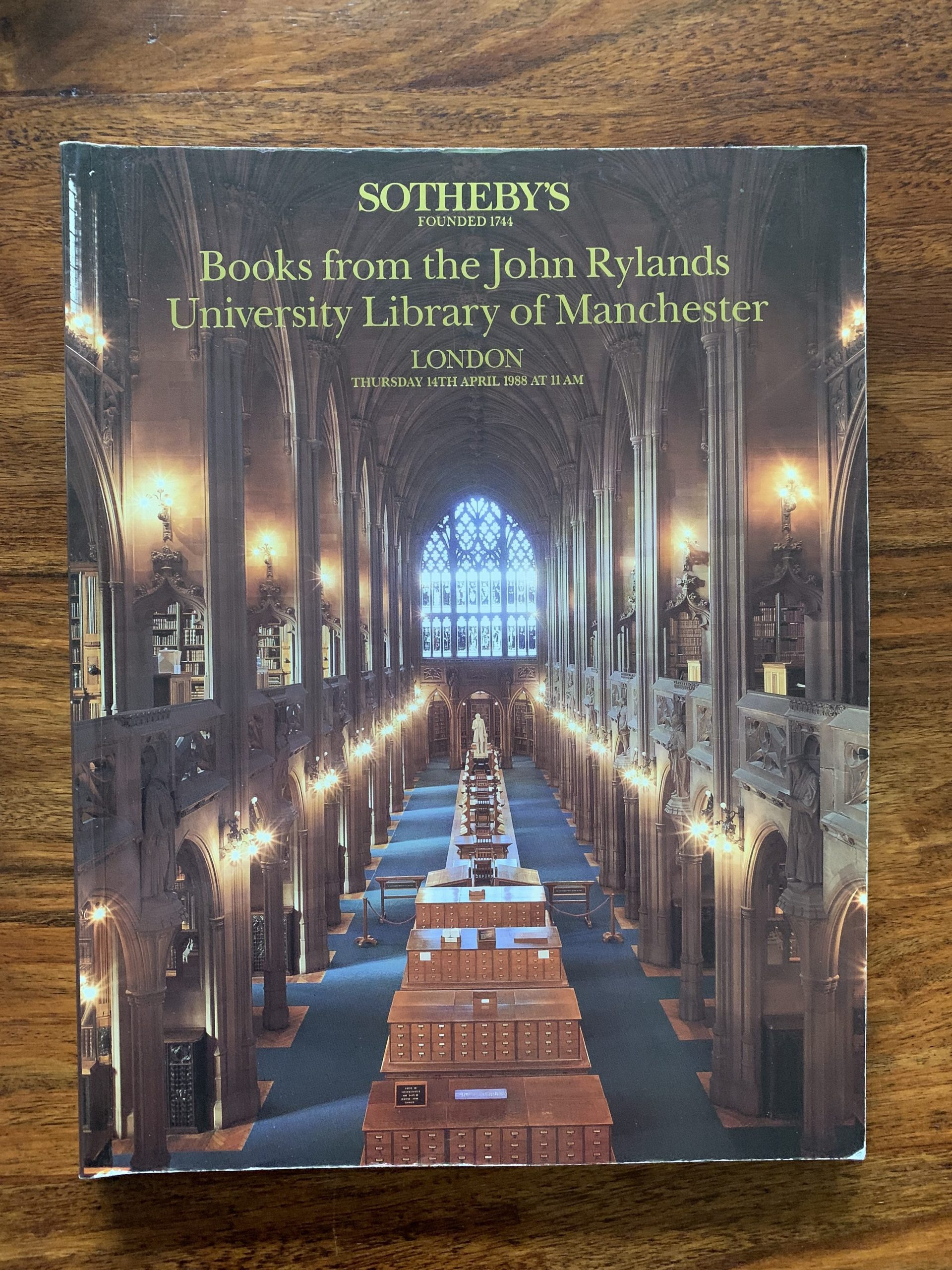 Sotheby's. Books from the John Rylands University Library of Manchester