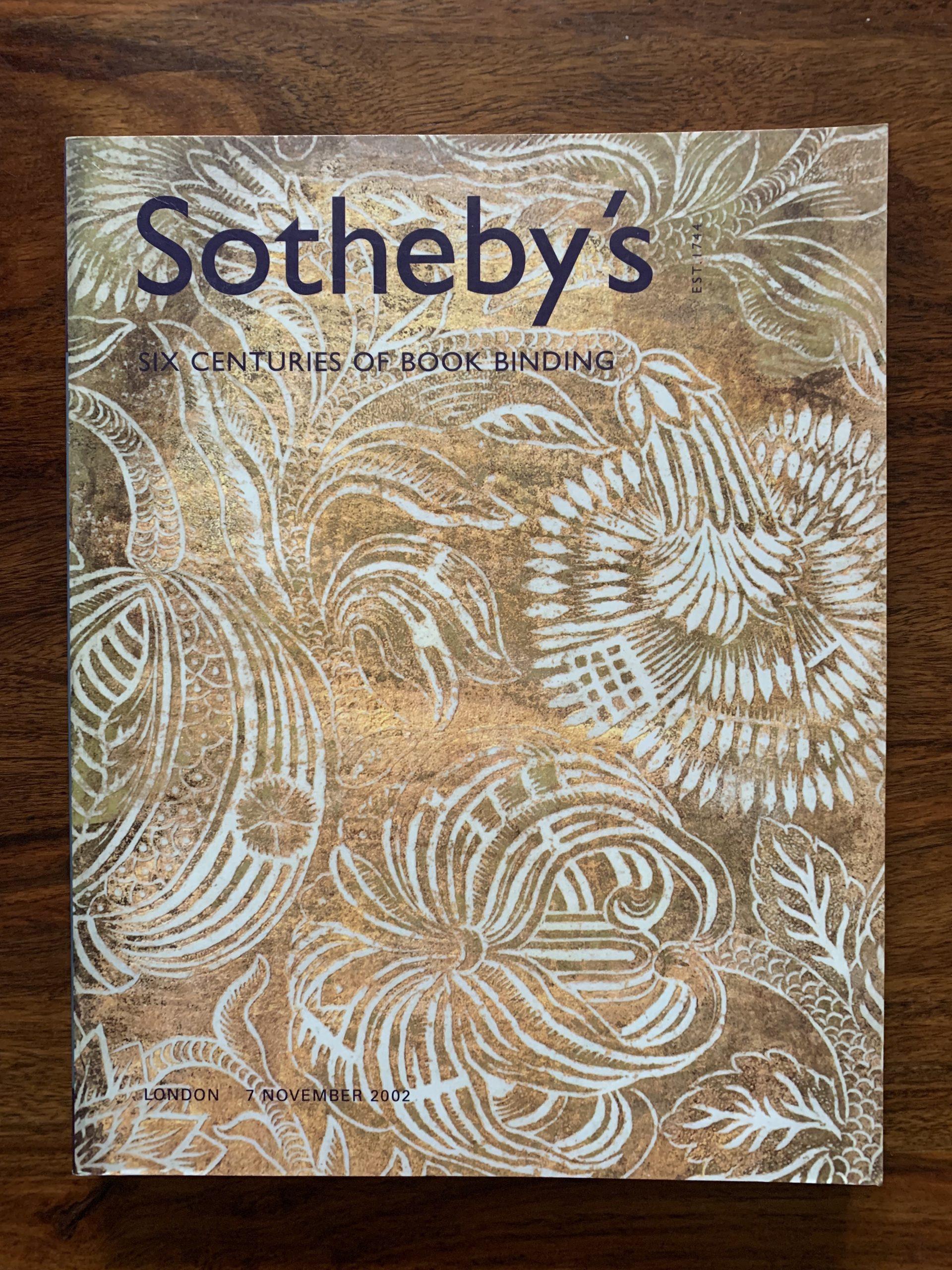 Sotheby's. Six Centuries Of Book Binding.